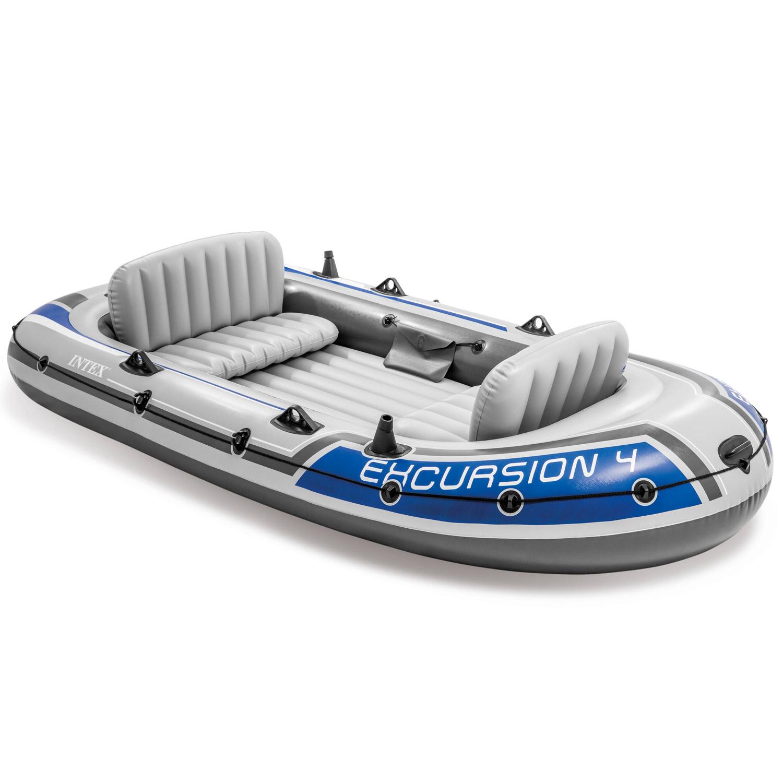 Intex Motorbootset Schlauchboot Excursion 4 Heckspiegel Elektromotor