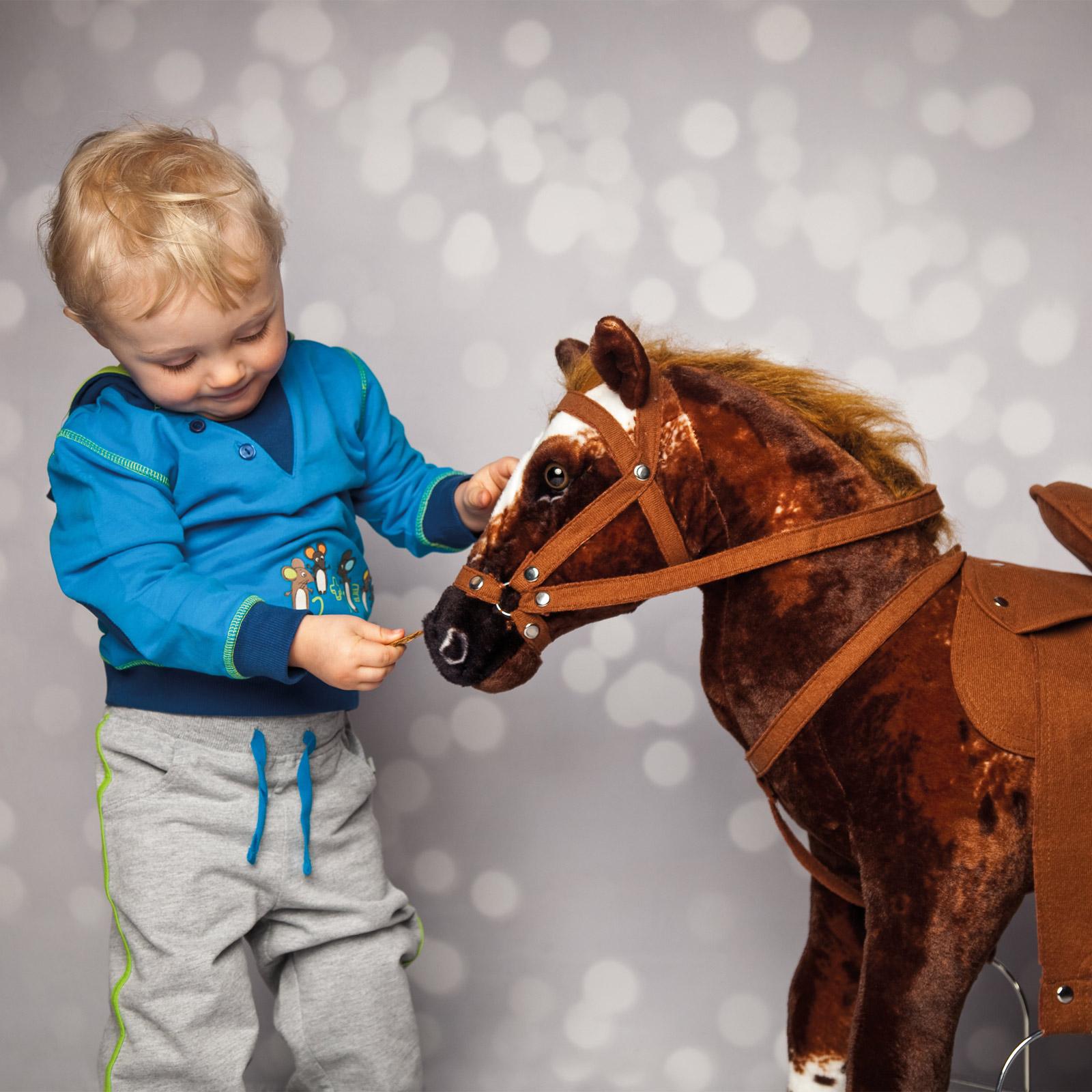 Happy People 58937 Plüschpferd Cowboypferd mit Sound stehend