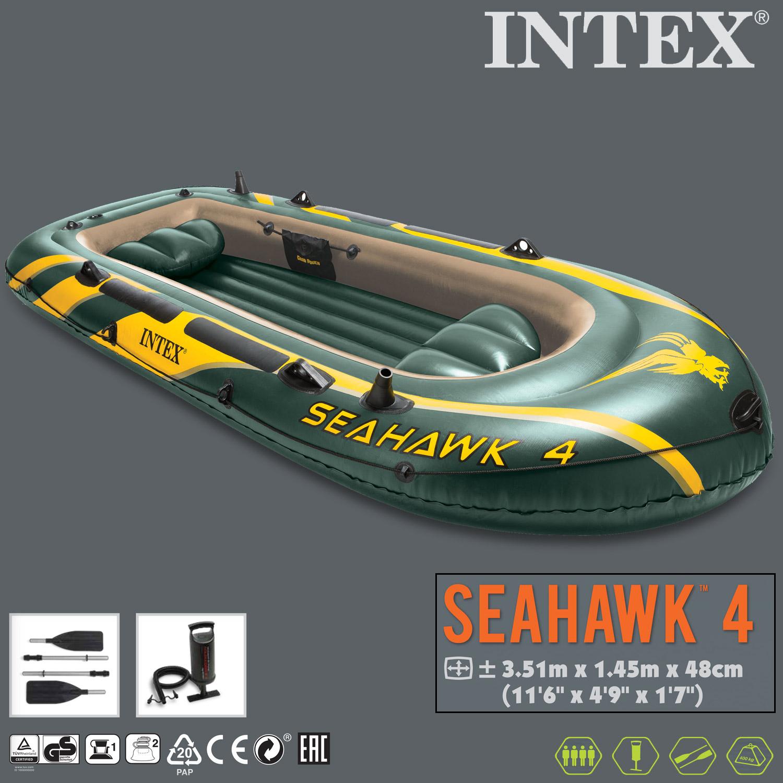 Intex Boot Seahawk 4 Komplettset 351x145x48cm mit Elektromotor und Heckspiegel