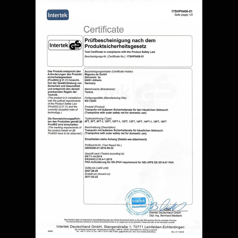 Terena® Trampolin 366 mit Sicherheitsnetz blau