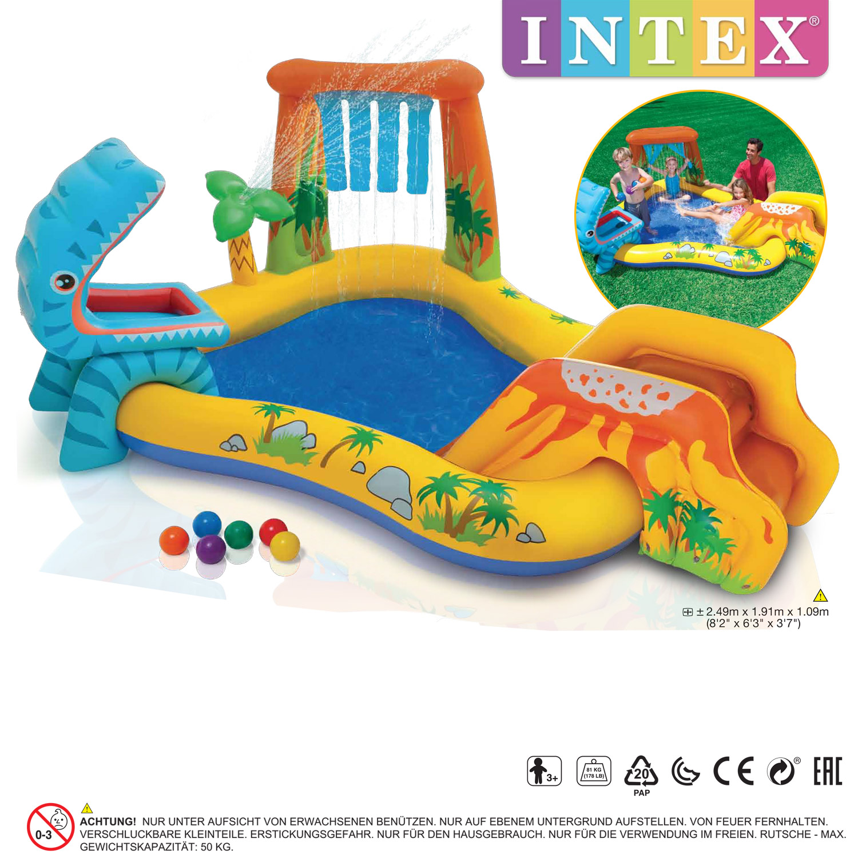 Intex Dinosaur Play Center Pool mit Rutsche 249x191x109cm