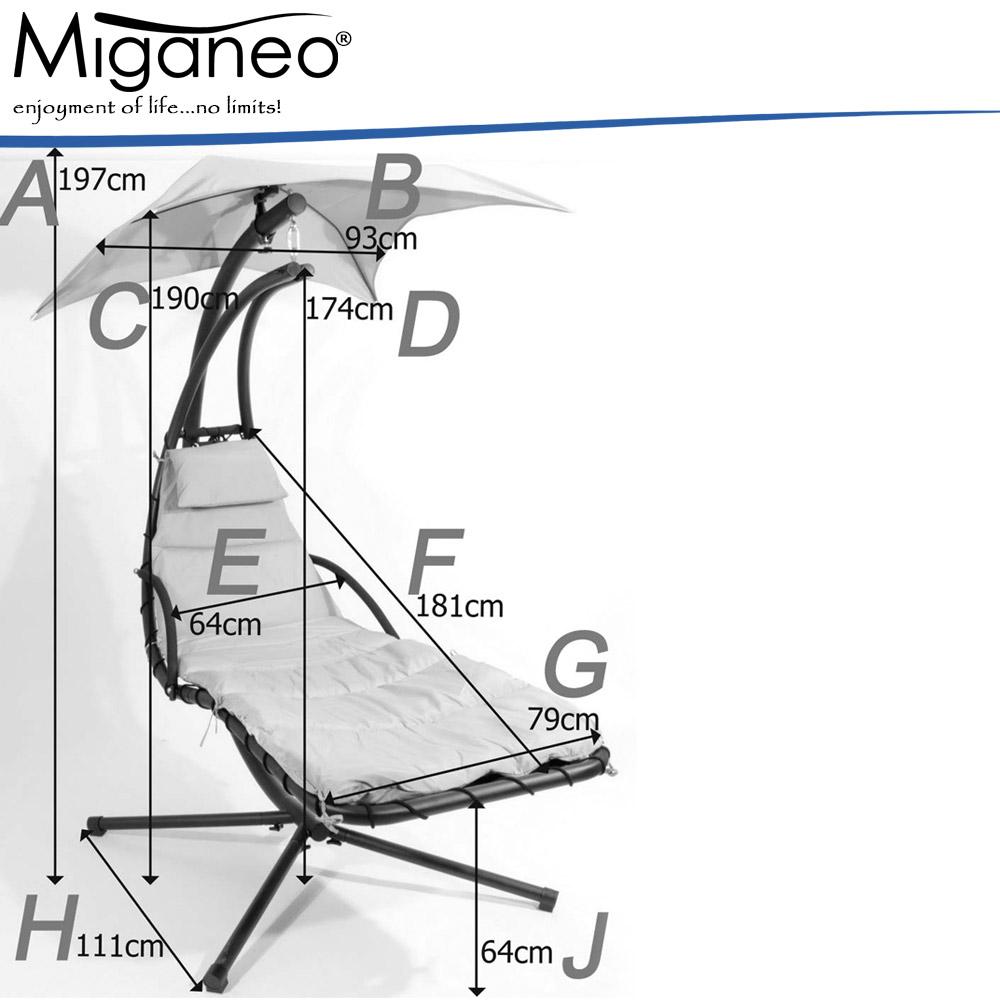 Miganeo® Schwebeliege H 200, L 194, B 104 cm blau