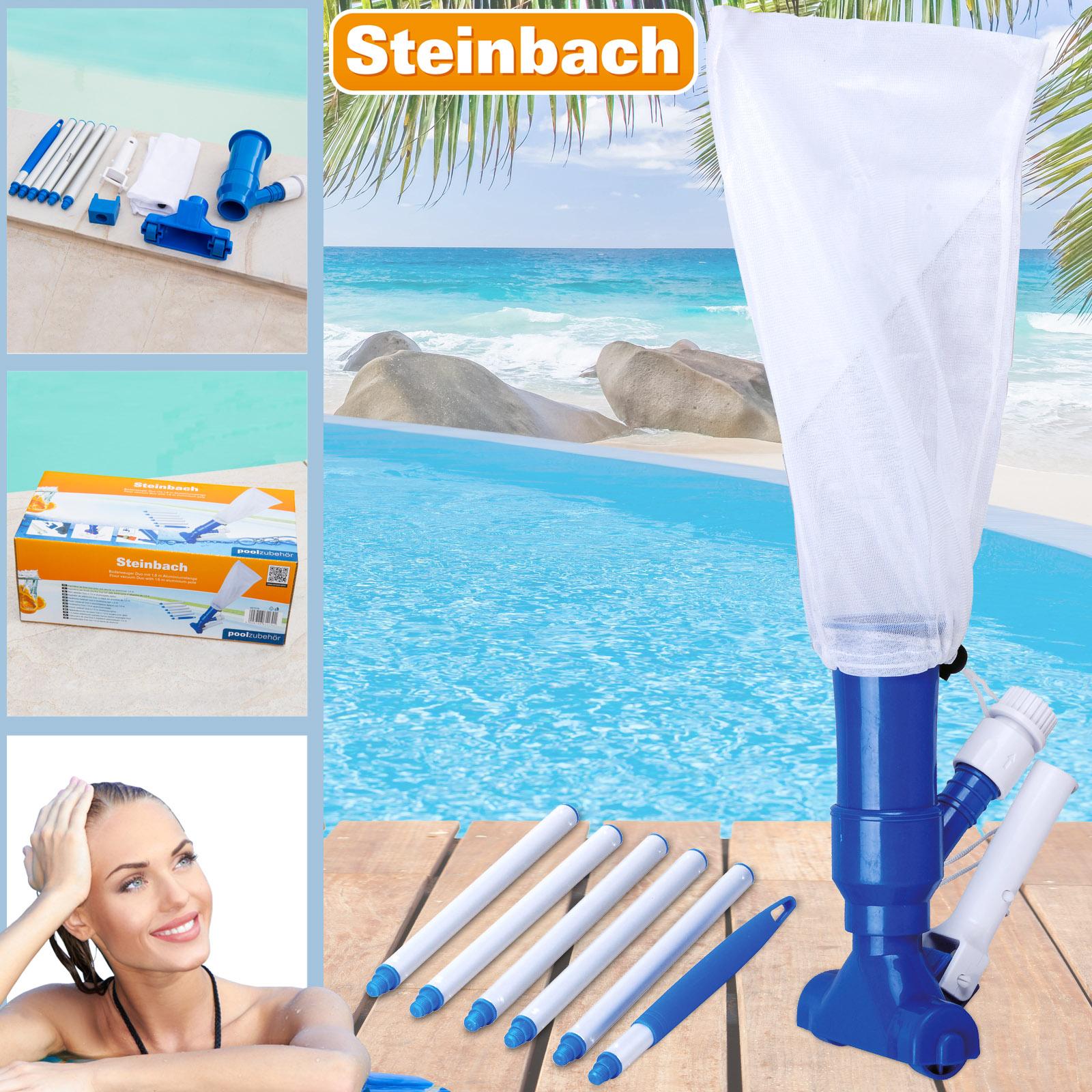 Steinbach Bodensauger Duo mit 1,5 m Alustange und Adapter Venturi Poolreiniger