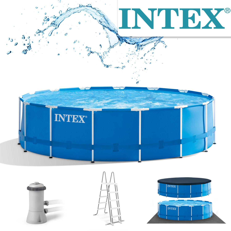Intex Swimming Pool Ø 457 x 122 cm Frame Pool Set Rondo blau