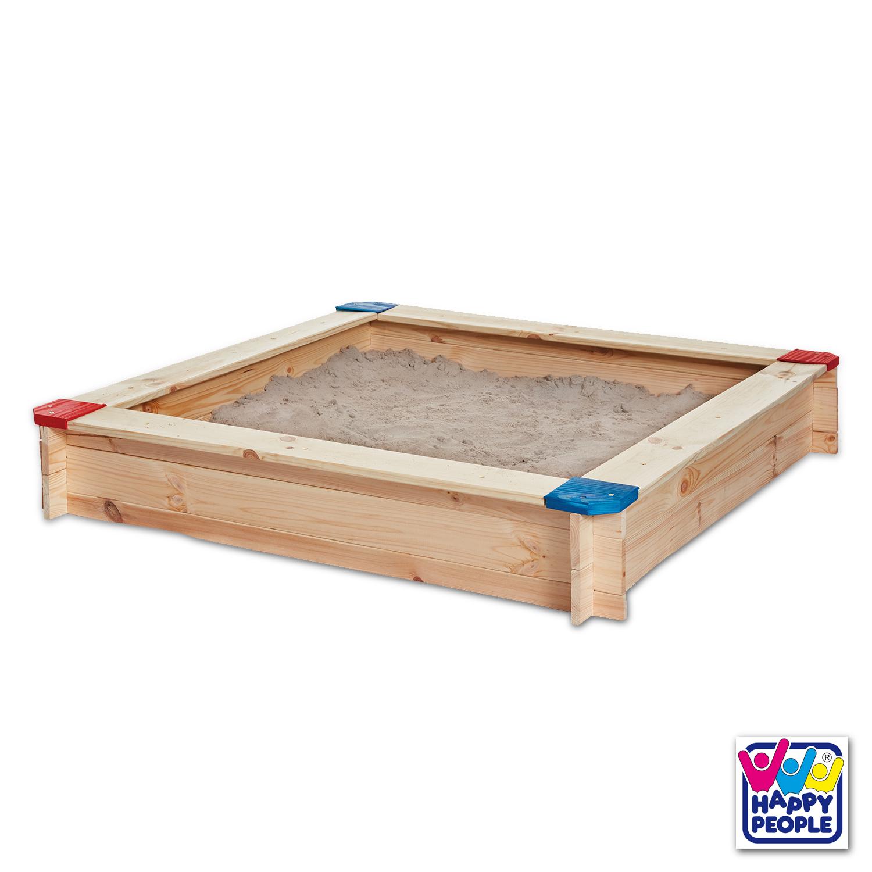 Happy People Sandkasten aus Kiefernholz 118 x 118 cm Holzstärke: 16 mm
