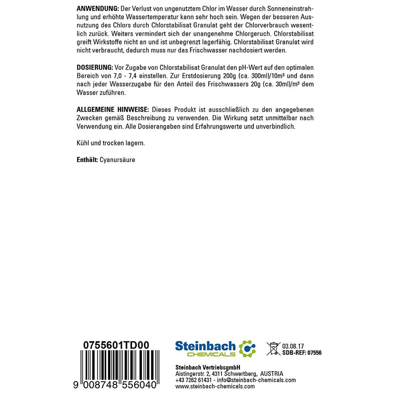 Steinbach Chlorstabilisat 5 Kg Granulat Chlorstabilisator chlor Stabilisator