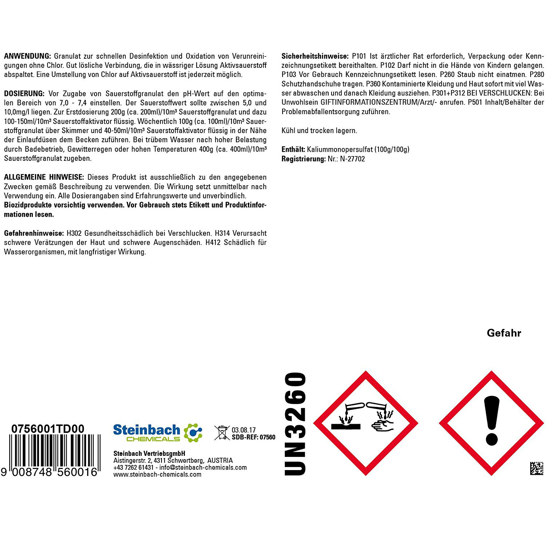 Steinbach Sauerstoffgranulat Aquacorrect chlorfrei Sauerstoff Granulat