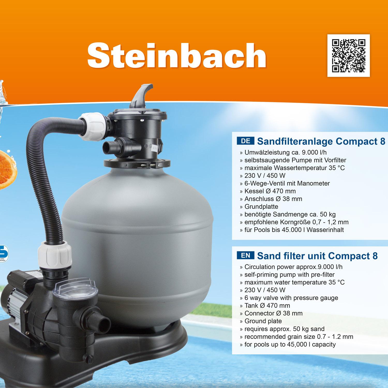 Steinbach  Compact 8  Sandfilteranlage 9m³ Filter Pool Pumpe Filterpumpe 450 W