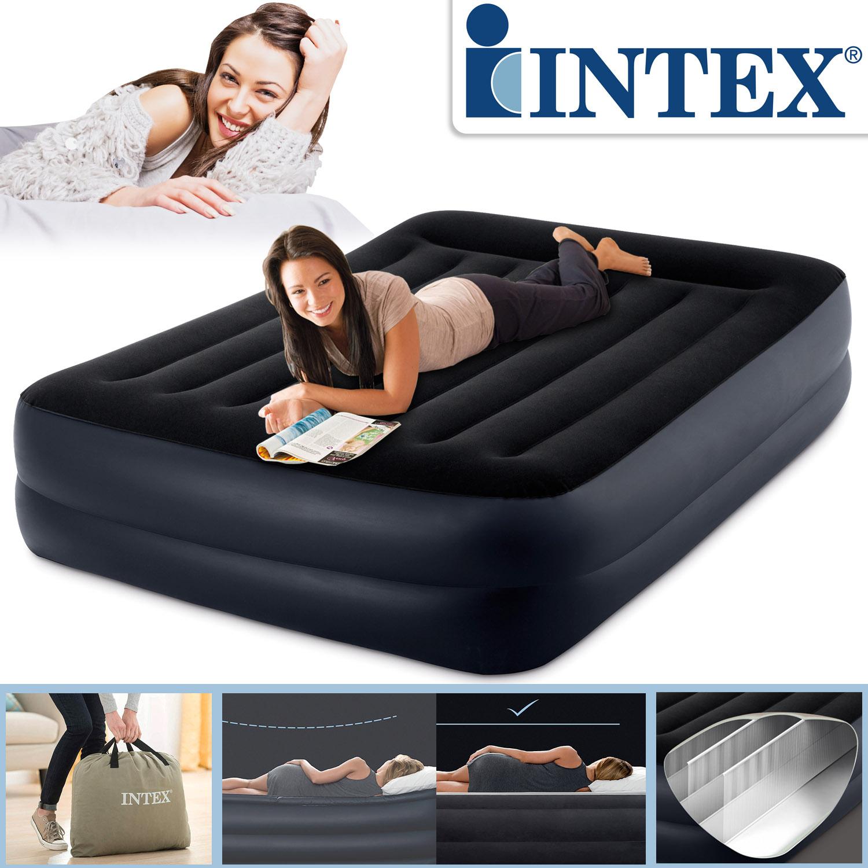 Intex Luftbett 203x152x42 cm mit integrierter Luftpumpe Gästebett