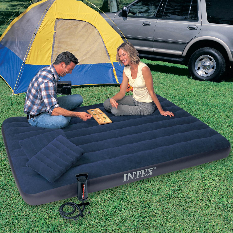 Intex Luftbett 203x152x25 cm blau mit Pumpe und Kissen Gästebett