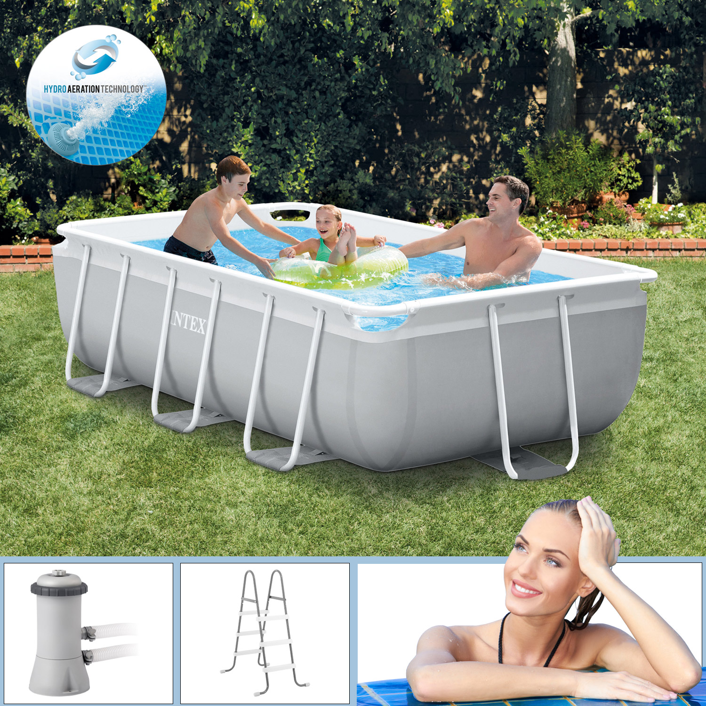 Intex Swimmingpool 300 x 175 x 80 cm Frame Pool Set Prism Quadra