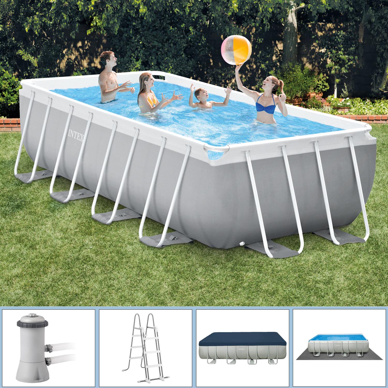 Intex Swimmingpool 488 x 244 x 107 cm Frame Pool Set Prism Quadra