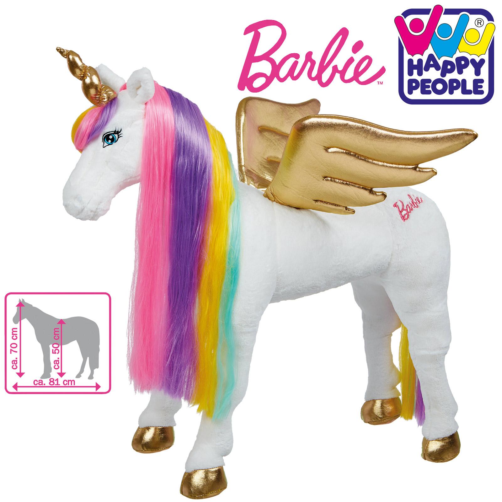 Happy People 58053 Plüschpferd Barbie Pferd Einhorn mit Sound stehend