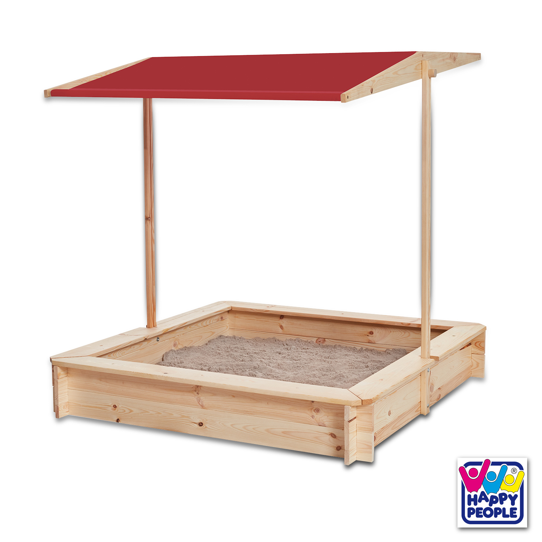 Happy People Holz Sandkasten mit Dach 118x118x118cm
