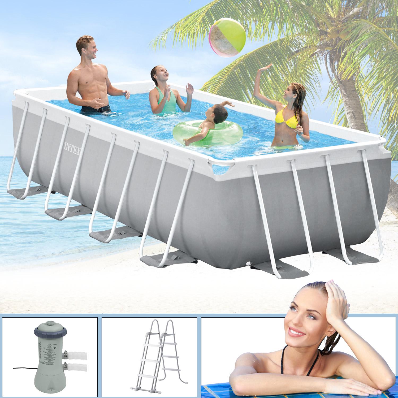 Intex Swimmingpool 400 x 200 x 100 cm Frame Pool Set Prism Quadra