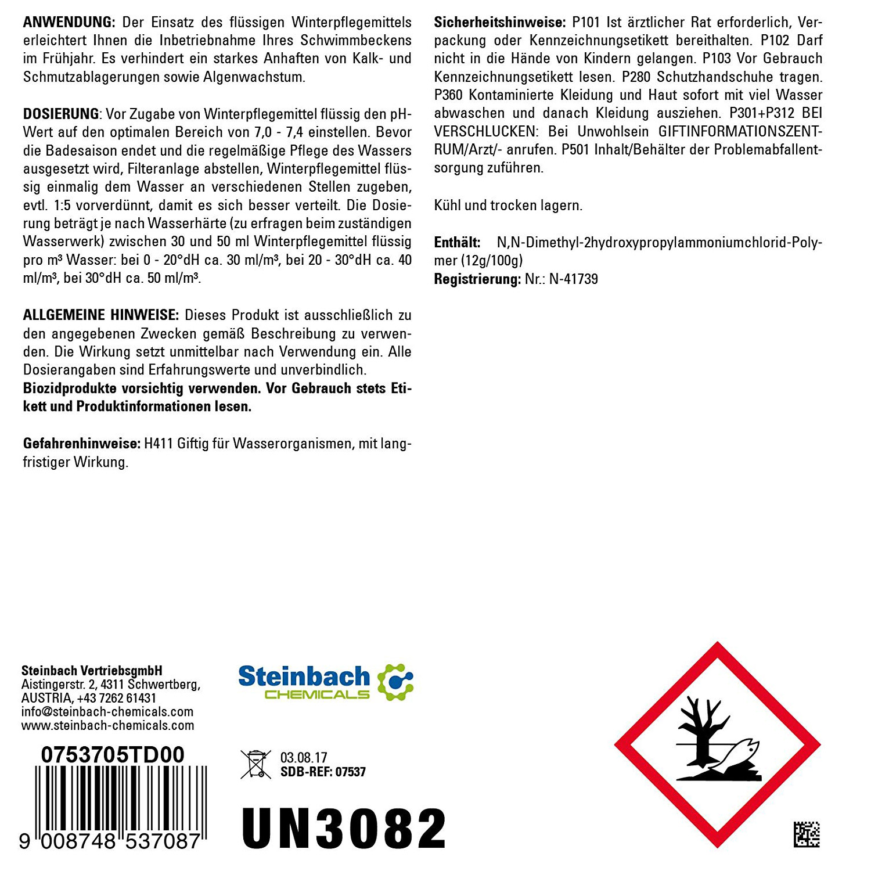 Steinbach 5 Liter Winterpflegemittel Winter f. Pool Überwinterung