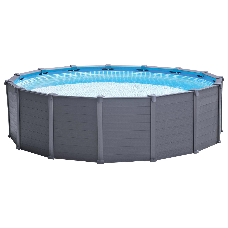 Intex Ø 478 x 124 cm Frame Pool Komplett Set Graphit mit Sandfilteranlage
