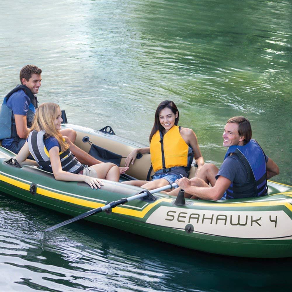 Intex Motorbootset Schlauchboot Seahawk 4 Heckspiegel Elektromotor