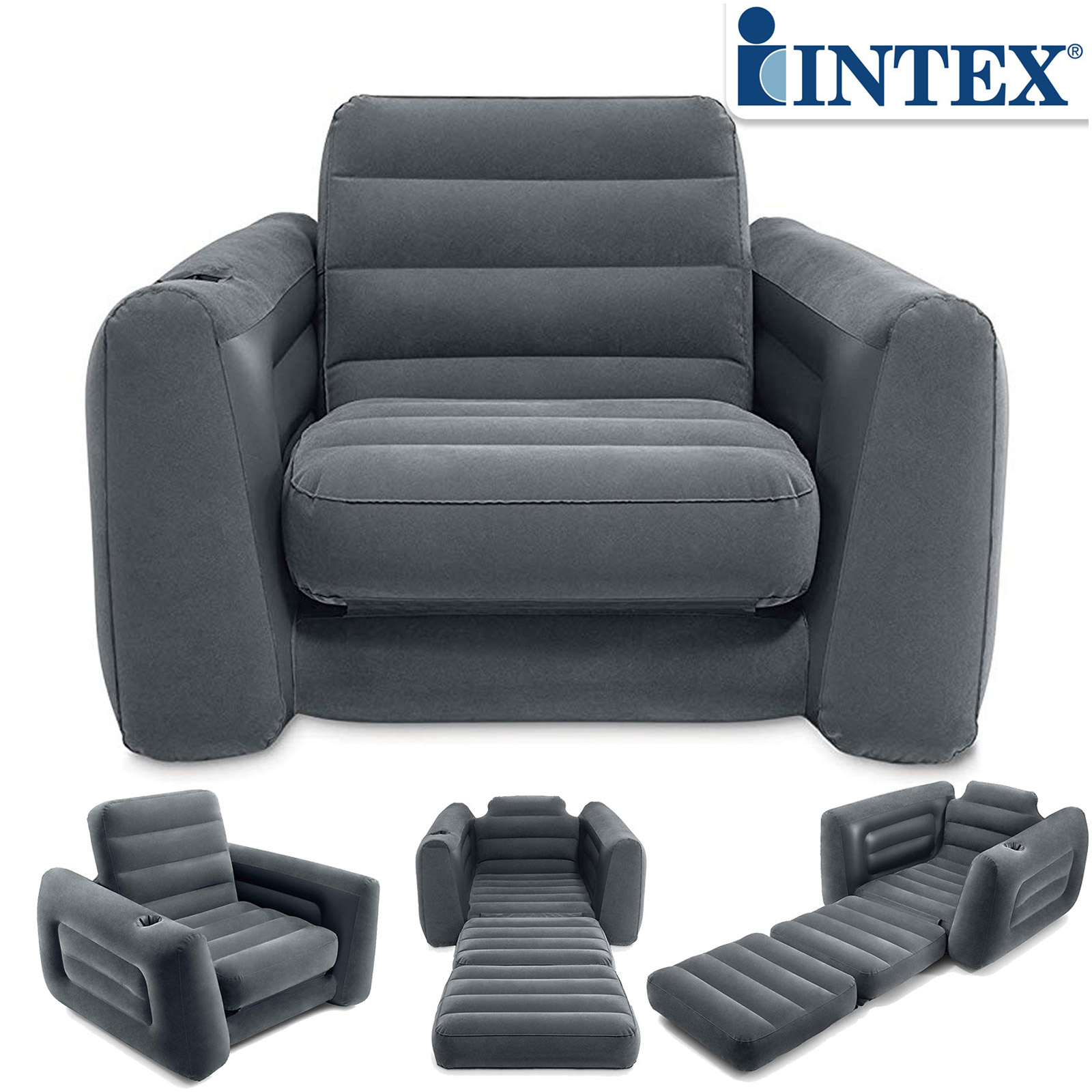 Intex Sessel Pull-Out Chair 117x224x66 cm Schlafsessel Relaxsessel