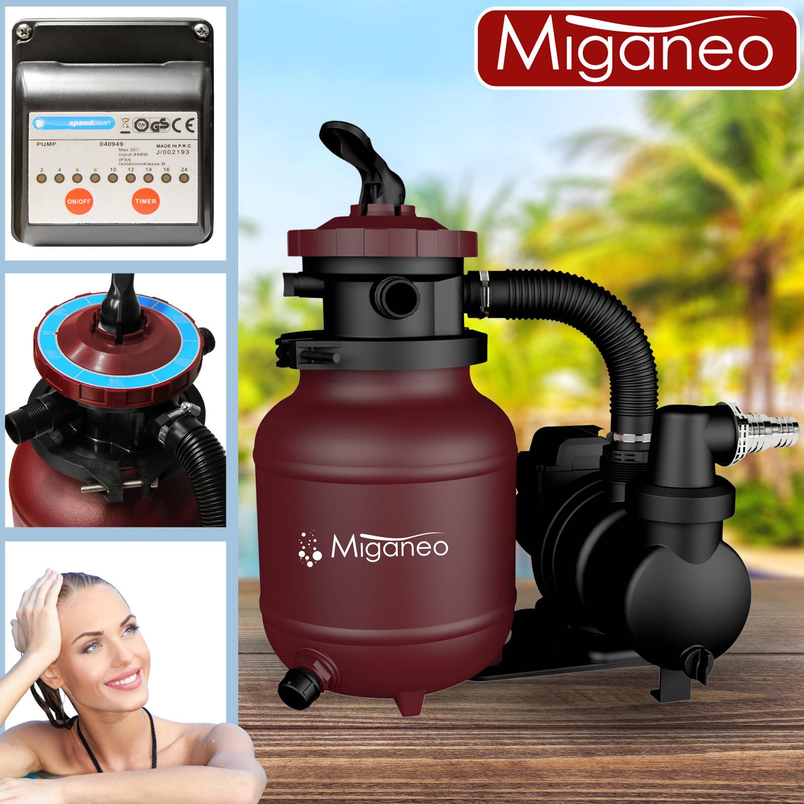 Miganeo® Sandfilteranlage Speed Clean Dynamic 7000 Pumpleistung 6,3m³ weinrot