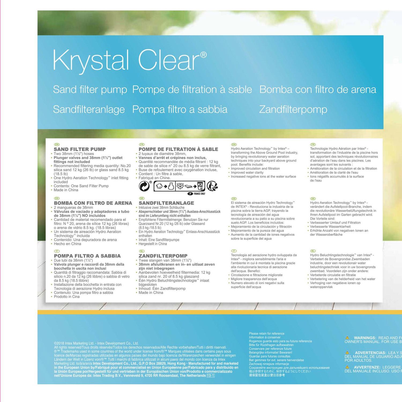 Intex Krystal Clear Sandfilteranlage 4,5 m³ für Pools bis 29.000l