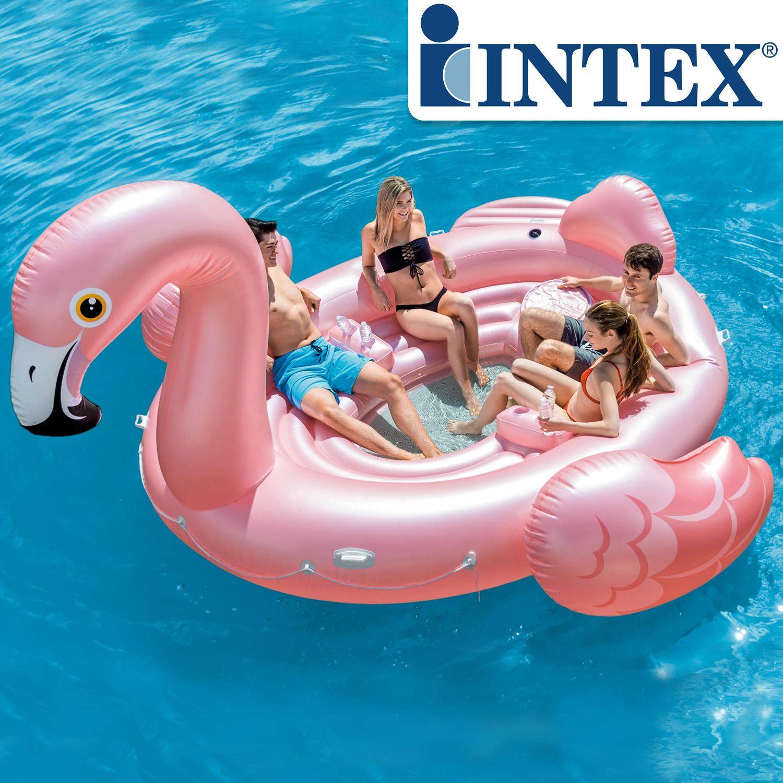 Intex 57267 XXLFlamingo Party BadeInsel 422 x 373 x 185cm Insel Luftmatratze