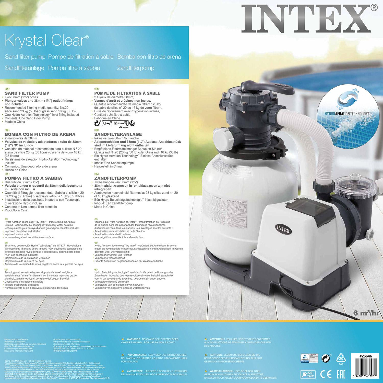 Intex Krystal Clear Sandfilteranlage 7.9 m³ für Pools bis 36.000l