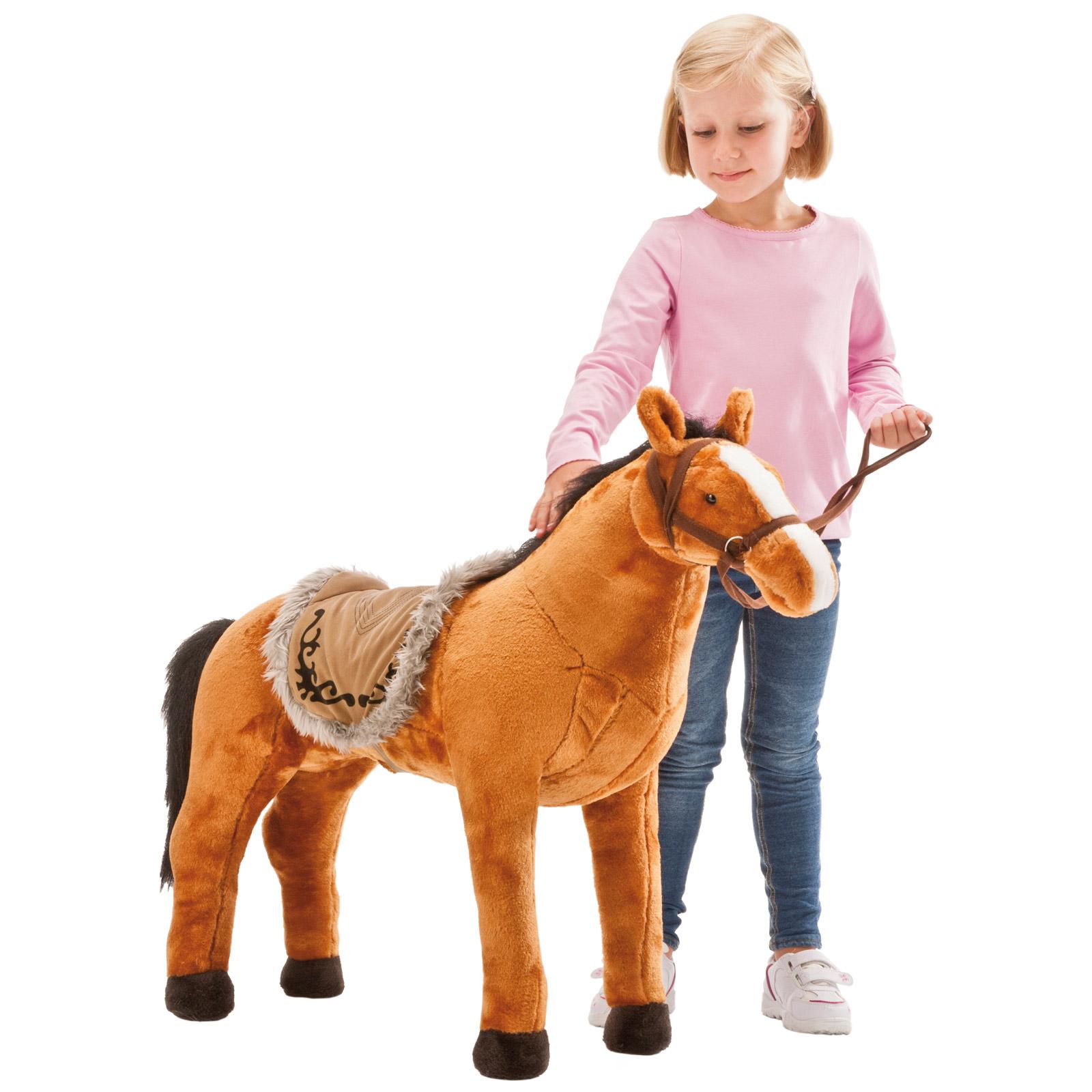 Happy People 58420 Plüschpferd Rotbraunes Pferd mit Sound stehend