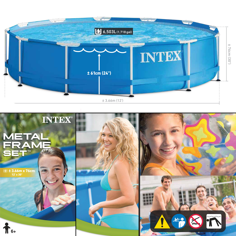 Intex Ø 366 x 76 cm Frame Pool Set Rondo mit Pumpe