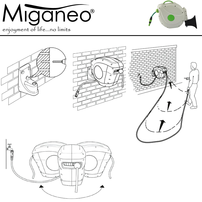 """Miganeo® Automatischer Comfort Gartenschlauchabroller 1/2"""" - 20m Schlauch"""