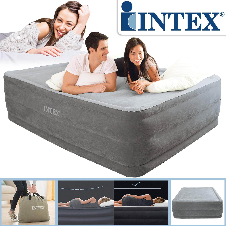 Intex Luftbett 203x152x56 cm mit integrierter Luftpumpe Gästebett