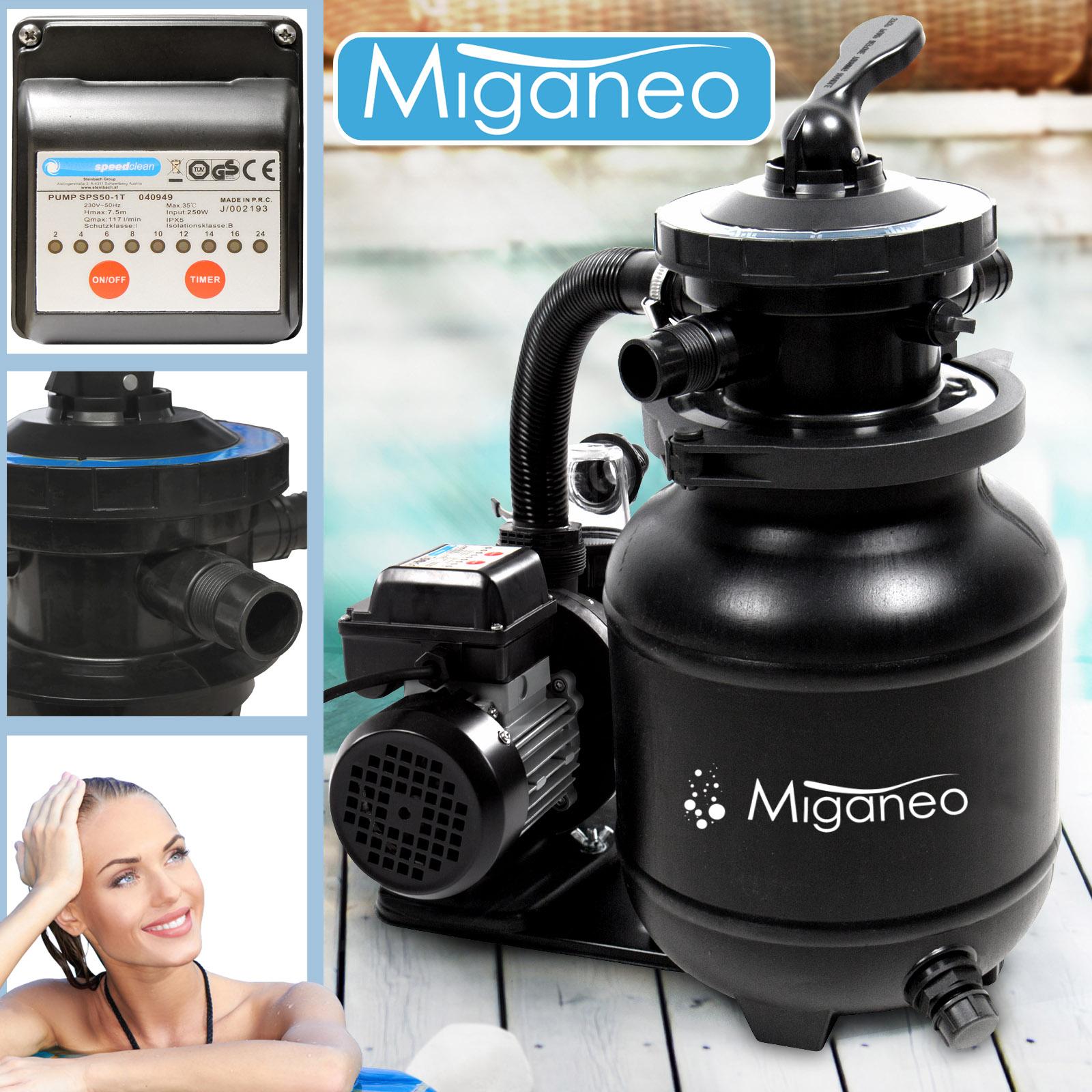 Miganeo® Sandfilteranlage Speed Clean 7000 Pumpleistung  6,3m³ schwarz