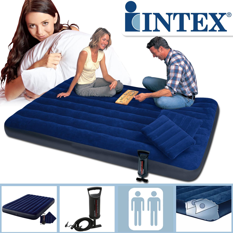 Intex Luftbett 203x152x25 cm blau mit Kissen und Pumpe Gästebett