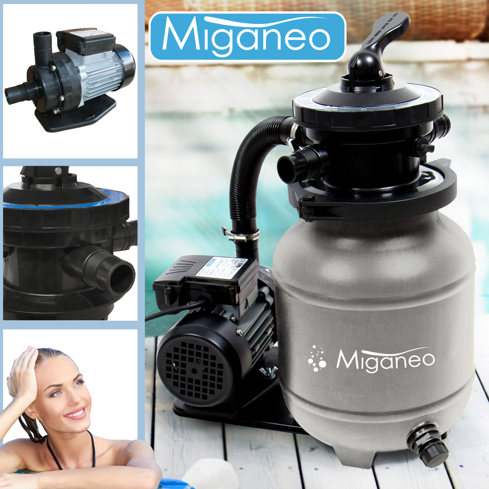 Miganeo® Sandfilteranlage Dynamic 6500 Pumpleistung  4,5m³ grau