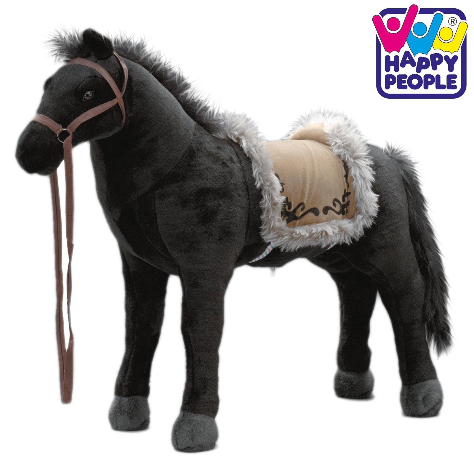 Happy People 58401 Plüschpferd Pferd Rappe mit Sound stehend