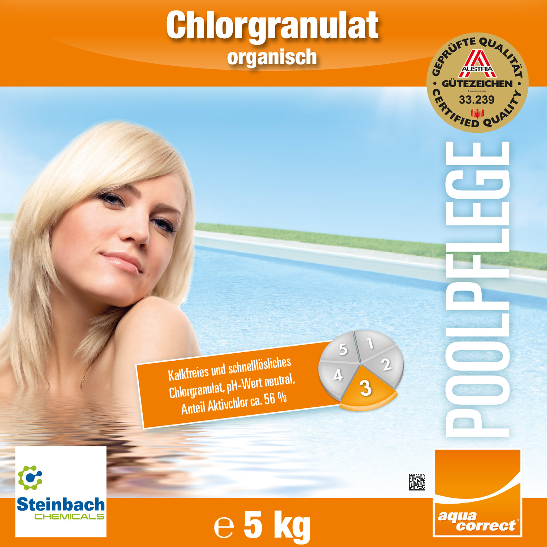 Steinbach Chlorgranulat, 5 kg für Pool, pH-neutral