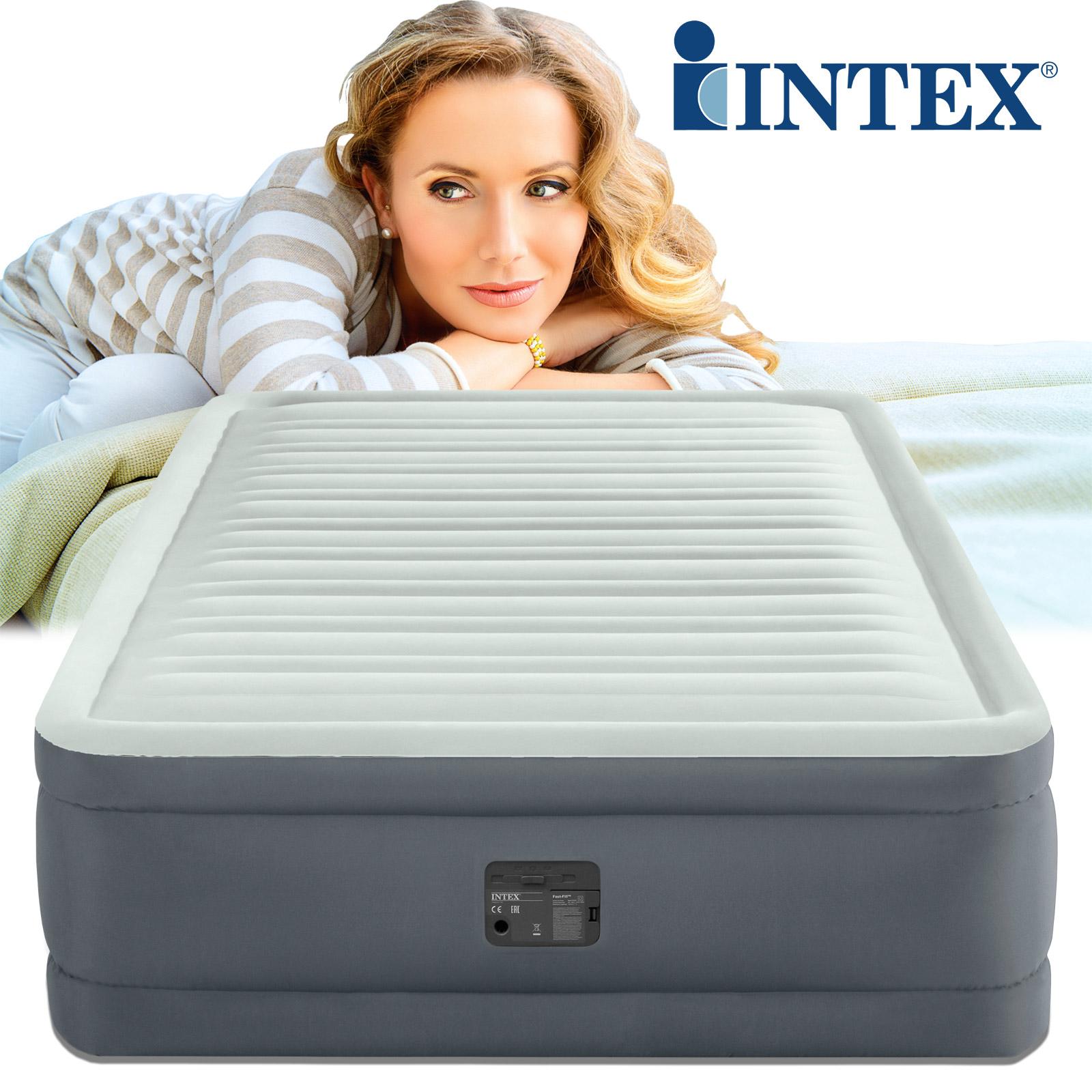 Intex Luftbett 203x152x46 cm mit integrierter Luftpumpe Gästebett