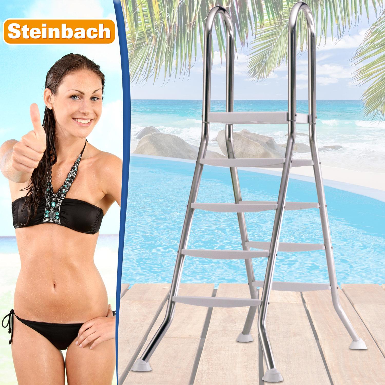 Einbautreppe Edelstahl Komfort 4+4 Stufen 120-135cm für Pool