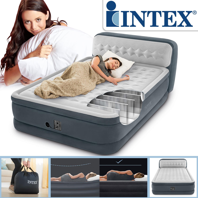 Intex Luftbett 236x152x86 cm mit integrierter Luftpumpe Gästebett Rückenlehne