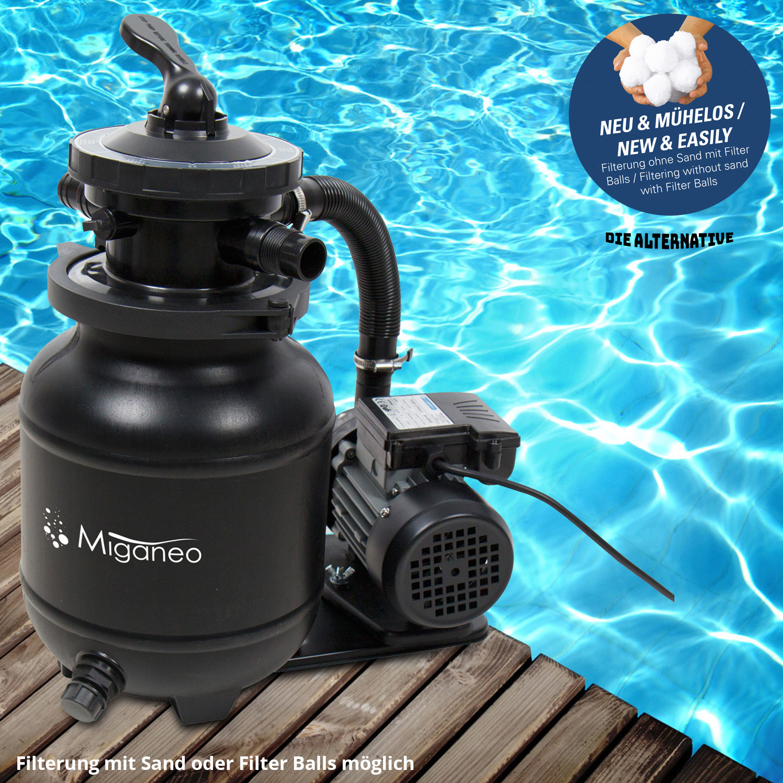 Miganeo® Sandfilteranlage Dynamic 6500 Pumpleistung  4,5m³ schwarz